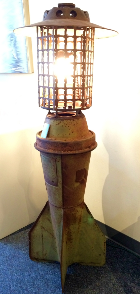 "Rafael Mithuna, ""Bomb Fin Lantern"" - WWII bomb fin, WWII military transport parts"