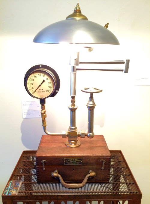 "Rafael Mithuna, ""Budenberg Steam Lamp"" - early 1900s steam test equipment, lamp parts, plumbing parts"